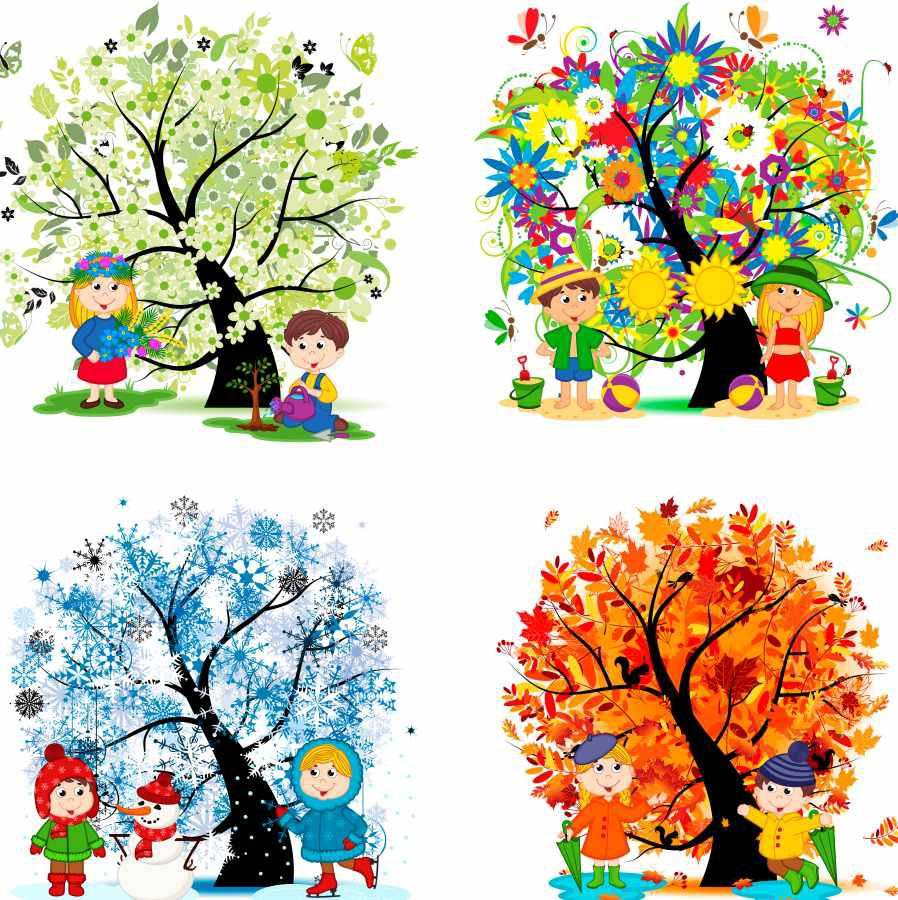 Времена года картинки для детей нарисованные